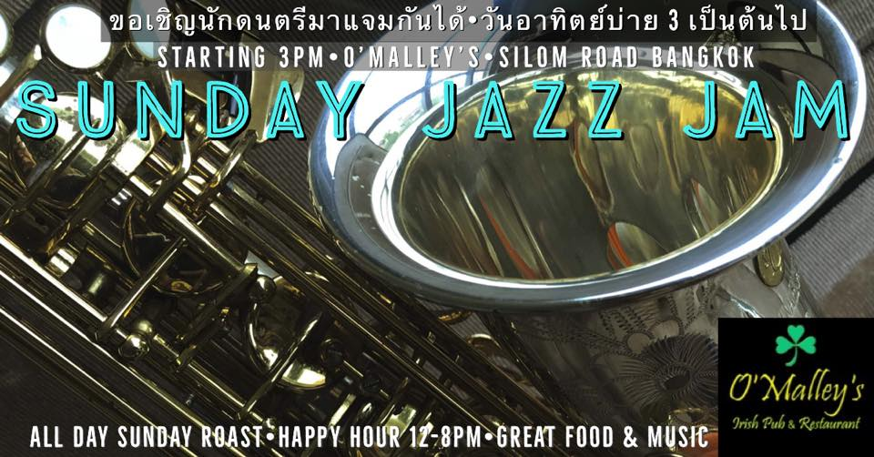 Sunday Afternoon Jazz Jam at O'Malley's Silom. Music event.